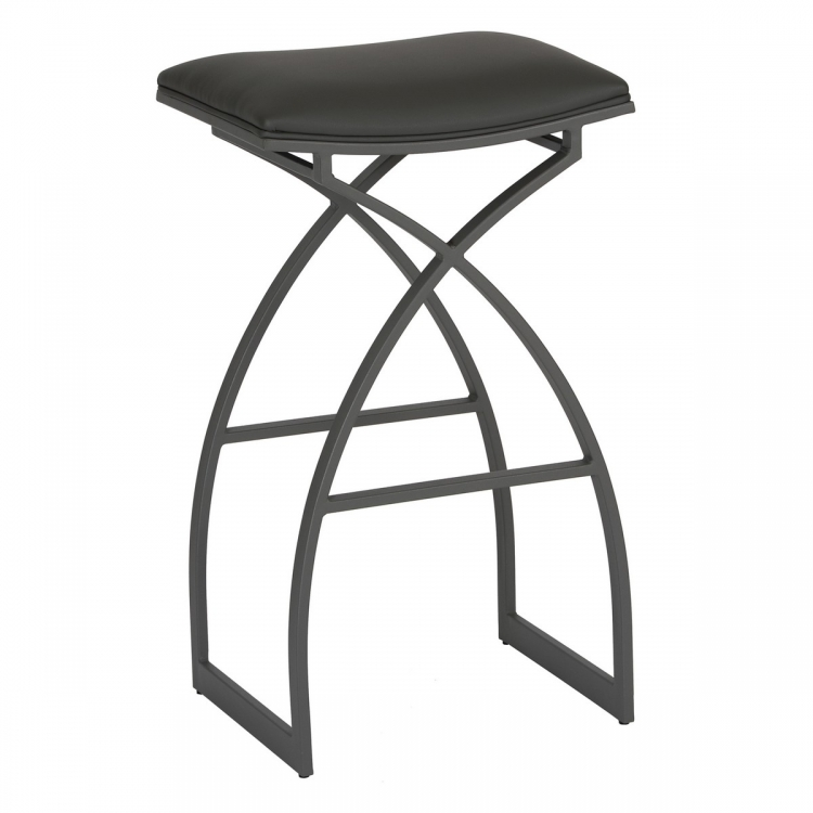 Harper 26-inch Modern Barstool In Gray and Gray Metal