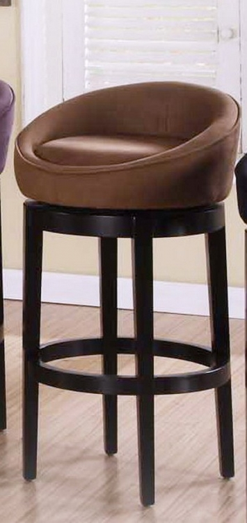 Igloo Brown Micro Fiber 26in Swivel Barstool - Eboney Finished Legs - Armen Living