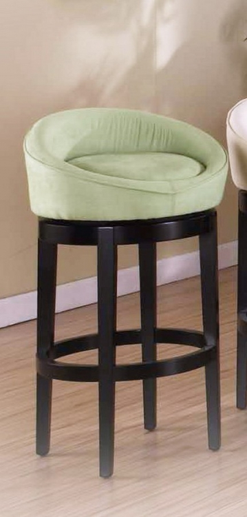 Igloo Green Micro Fiber 30in Swivel Barstool - Eboney Finished Legs