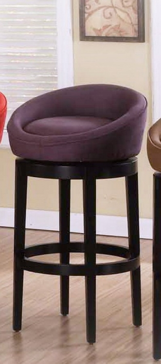Igloo Eggplant Micro Fiber 26in Swivel Barstool - Eboney Finished Legs - Armen Living