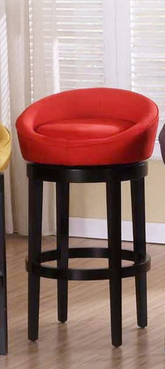 Igloo Red Micro Fiber 26in Swivel Barstool - Ebony Finished Legs