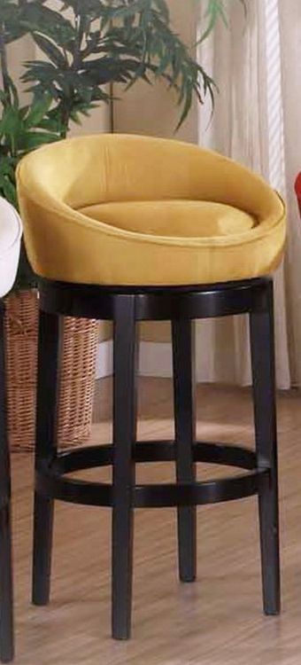 Igloo YelloMicro Fiber 26in Swivel Barstool - Ebony Finished Legs - Armen Living