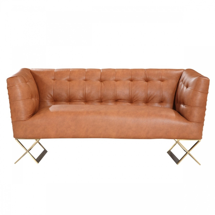 Jasper Modern Loveseat In Chestnut and Gold Matte Finish