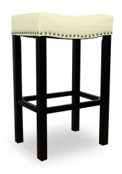 Tudor 30-Inch Stationary Barstool - Cream Bonded Leather/Chrome Nails
