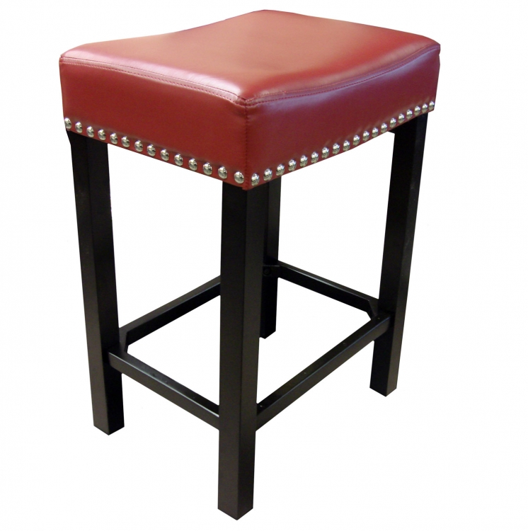 Tudor 26-Inch Stationary Barstool - Red Bonded Leather/Chrome Nails