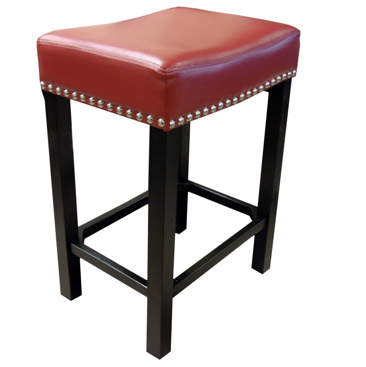Tudor 30-Inch Stationary Barstool - Red Bonded Leather/Chrome Nails