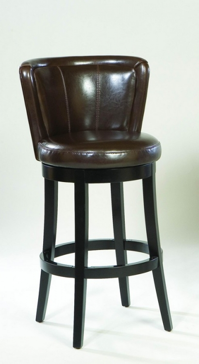 Lisbon 26-inch Swivel Barstool - Brown Leather