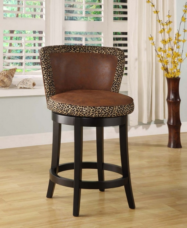 Lisbon 30in Swivel Barstool - Leopard Print Fabric Cover