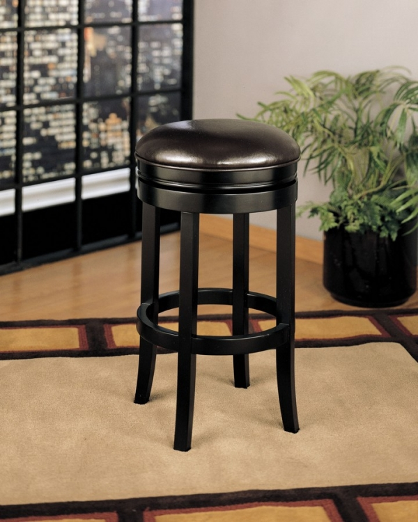 404 26-inch Backless Swivel Barstool - Brown