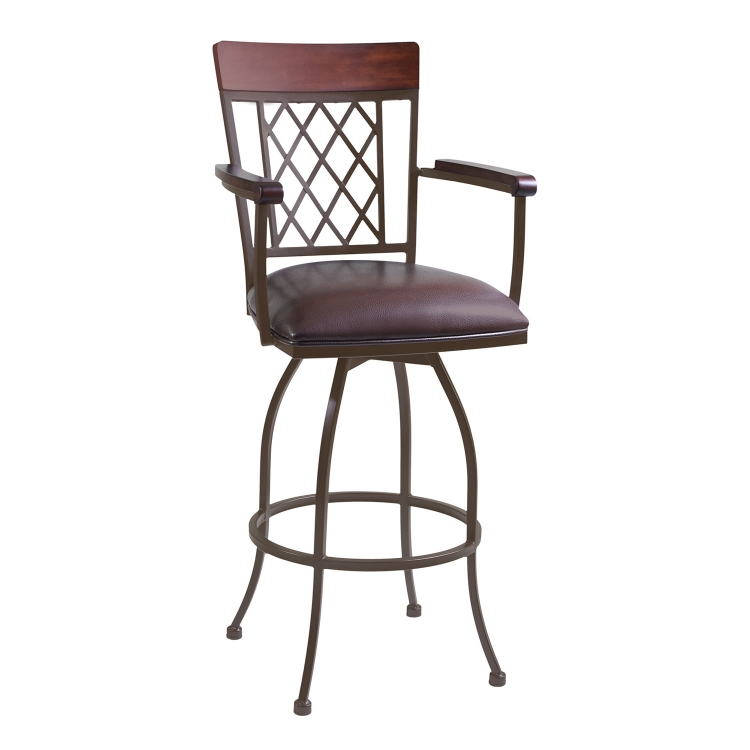 Napa 26-inch Arm Bar Stool - Brown Leatherette