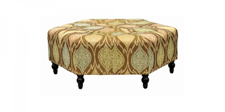 Punjab Mosaic Fabric Ottoman - Brown - Armen Living