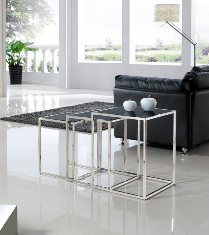 Quadra Nesting Tables - Stainless Steel with Glass Tops - Armen Living