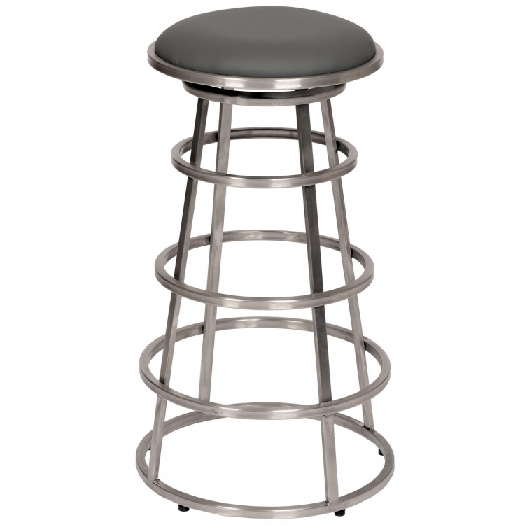 Ringo 26-inch Backless Brushed Stainless Steel Barstool in Gray Leatherette