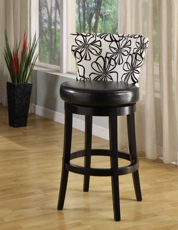 Savvy 4015 26in Black and White Floral Fabric Swivel Barstool - Ebony Wood Frame - Armen Living