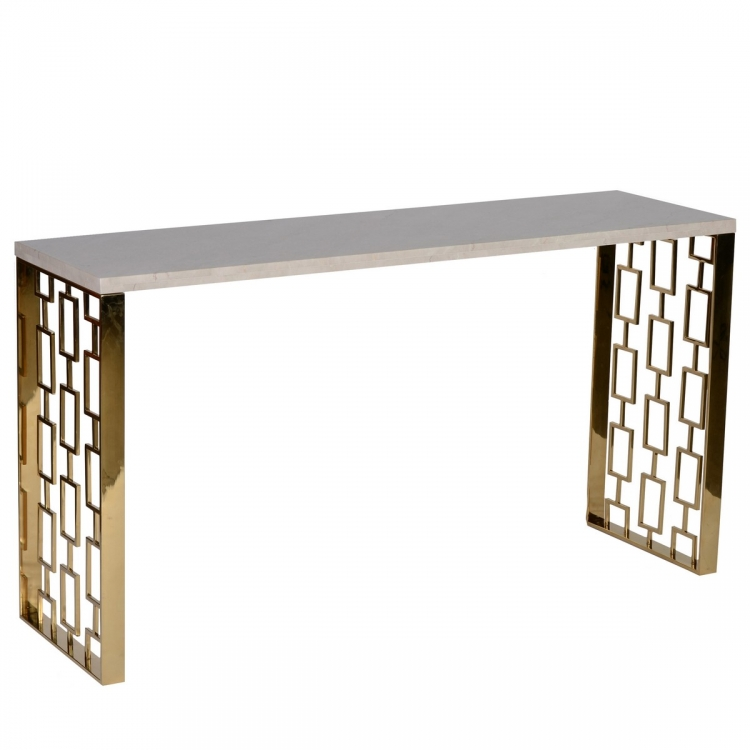 Skyline Console Table With White Top - Gold Metal Base