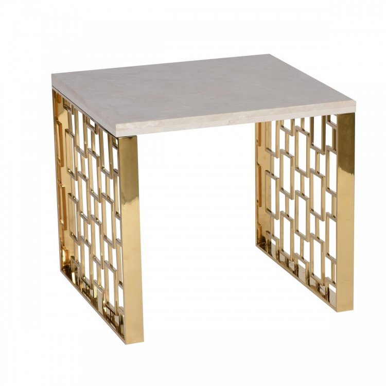 Skyline End Table With White Top - Gold Metal Base