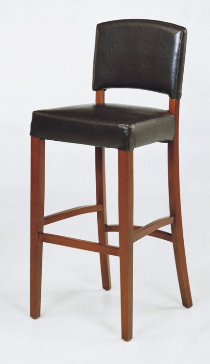 Sonora 30in Stationary Black Leather Barstool - Armen Living