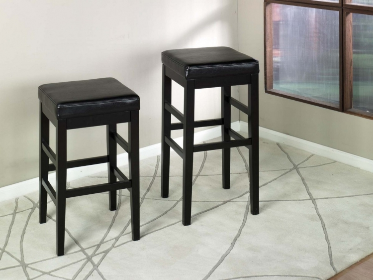 Sonata 30in Stationary Barstool - Black Leather - Armen Living