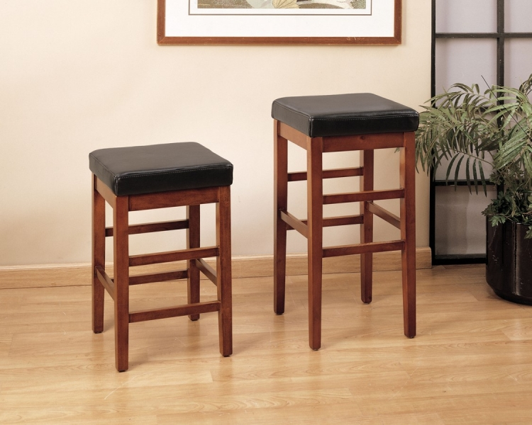 Sonata 26-inch Stationary Barstool - Brown Leather