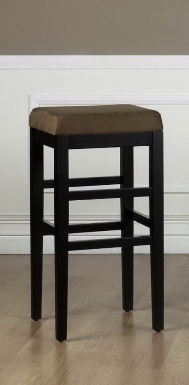 Sonata 30in Stationary Barstool - Brown Micro Fiber - Black Legs - Armen Living