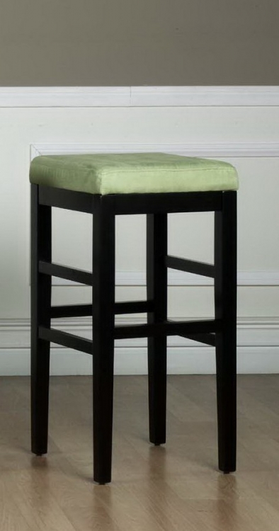 Sonata 30in Stationary Barstool - Green Micro Fiber - Black Legs - Armen Living