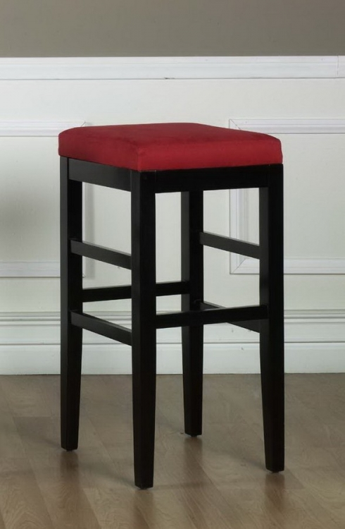 Sonata 30in Stationary Barstool - Red Micro Fiber - Black Legs - Armen Living