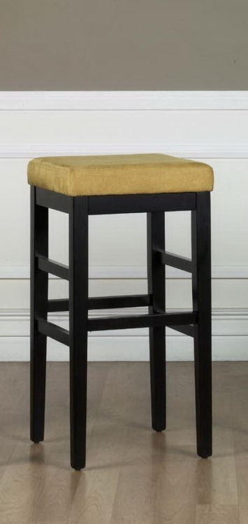 Sonata 30in Stationary Barstool - YelloMicro Fiber - Black Legs - Armen Living