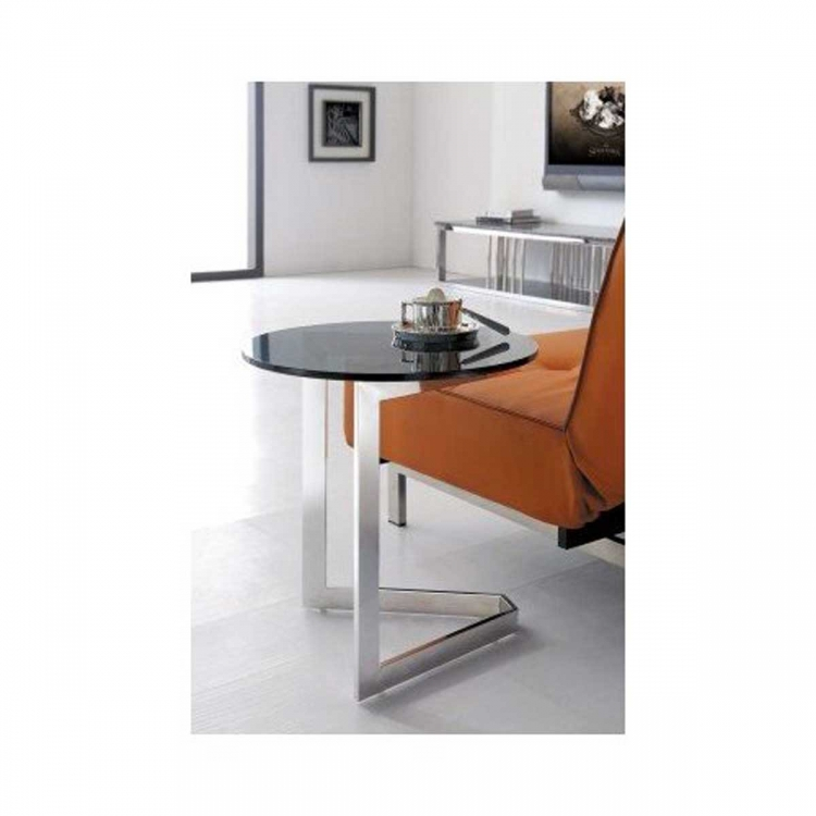 Toro End Table - Stainless Steel with Glass Top - Armen Living
