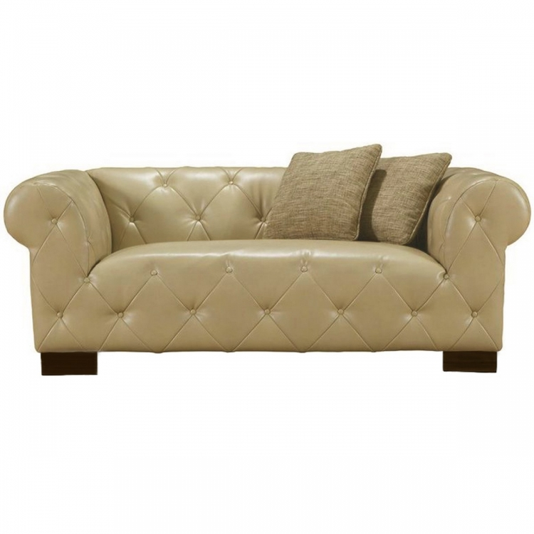 Tuxedo Beige Loveseat In Bonded Leather