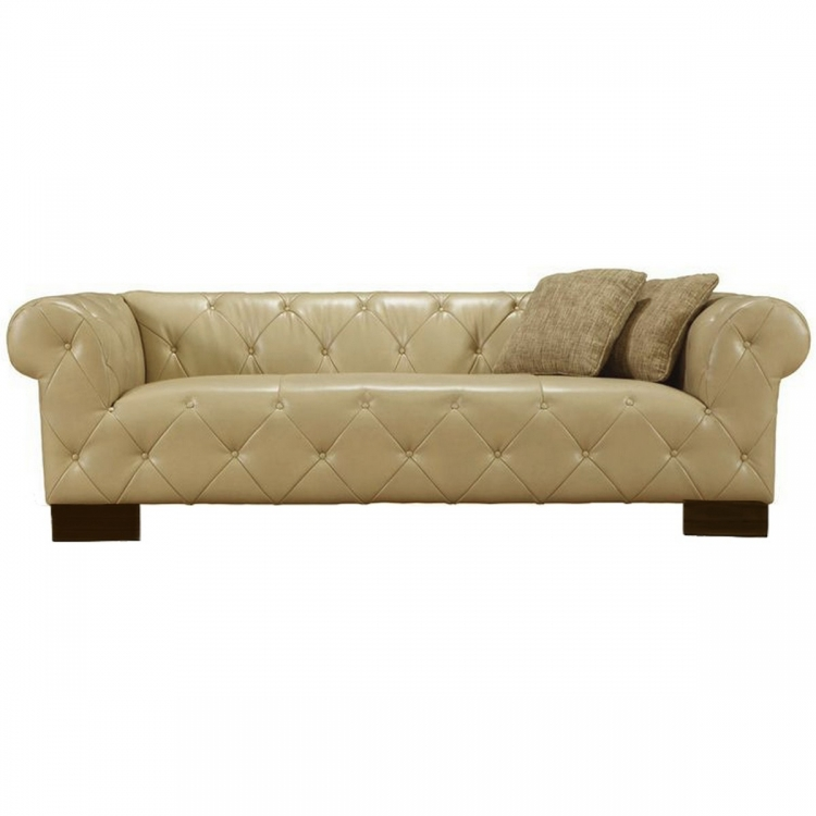Tuxedo Beige Sofa In Bonded Leather