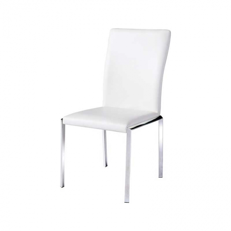 Vengo Side Chair - White Leatherette - Armen Living