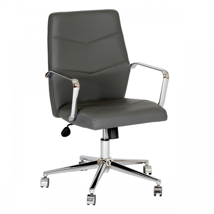 Viken Contemporary Office Chair in Gray and Chrome