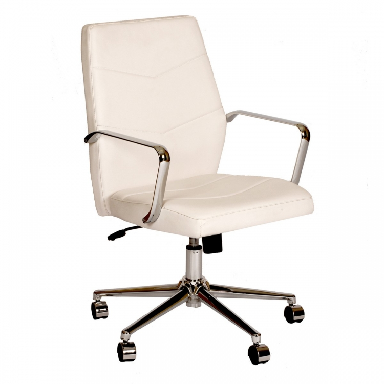 Viken Office Chair In White and Chrome