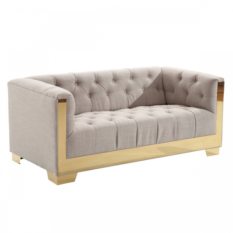 Zinc Contemporary Loveseat In Taupe Tweed and Shiny Gold Finish