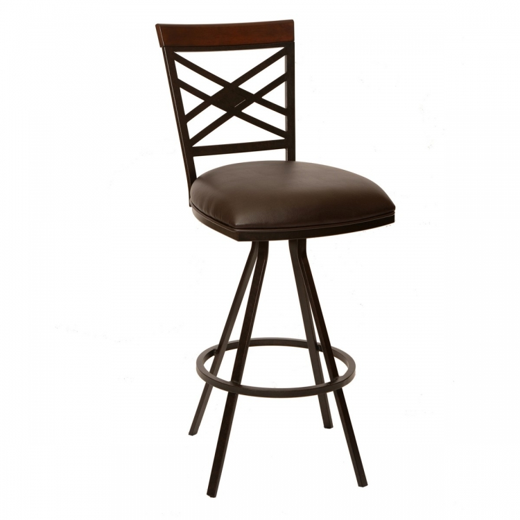 Zoe 30-inch Transitional Armless Barstool In Coffee and Auburn Bay Metal