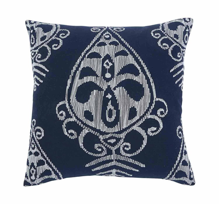 Embroidered Pillow Cover - Set of 4 - Navy