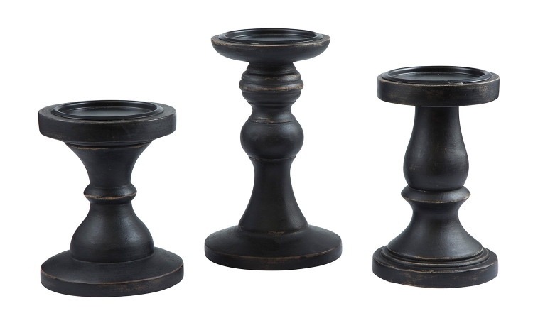 Kadience 3 PC Set Candle Holder - Black