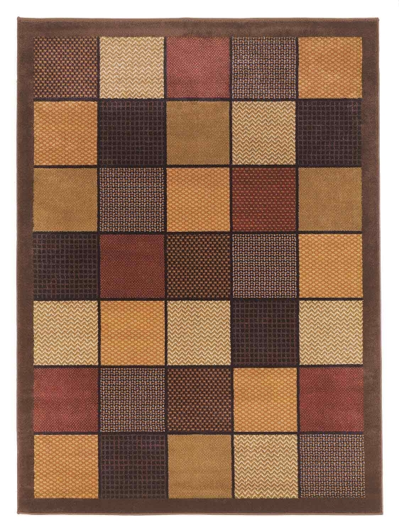 Patchwork Area Rug - Brown