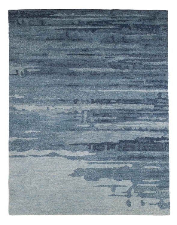 Patterned Medium Rug - Blue/Gray