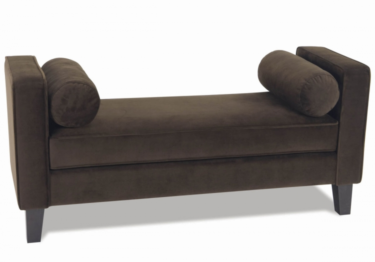 Curves Chocolate Velvet Bench - Avenue Six