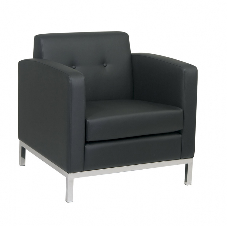 Wall Street Arm Chair - Black Vinyl - Avenue Six
