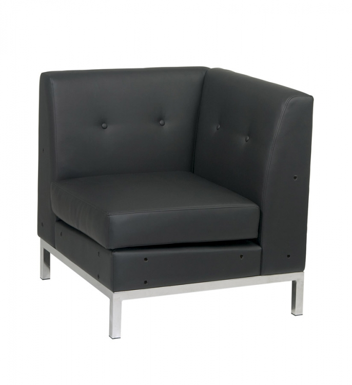 Wall Street Corner Chair - Black Vinyl - Avenue Six