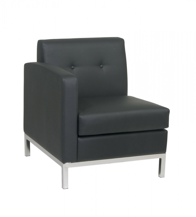 Wall Street Left Arm Chair - Black Vinyl - Avenue Six