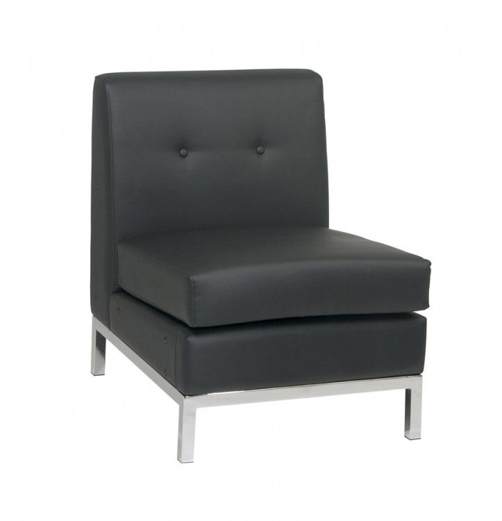 Wall Street Armless Chair - Black Vinyl - Avenue Six