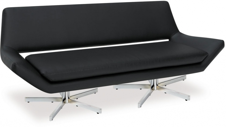 Yield Loveseat - Black Vinyl - Avenue Six