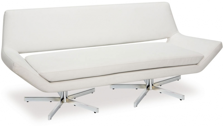 Yield Loveseat - White Vinyl - Avenue Six