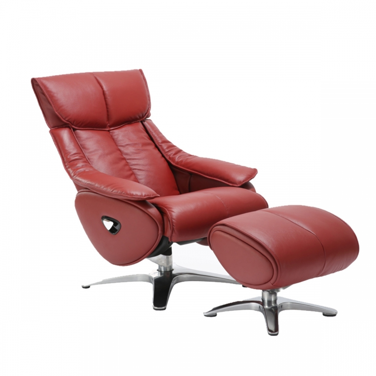 Eton Pedestal Recliner Chair with Adjustable Head Rest and Adjustable Ottoman - Capri Red/leather match