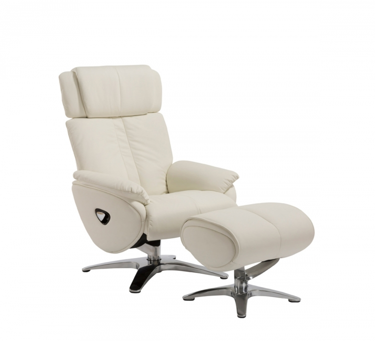 Emery Pedestal Recliner Chair with Adjustable Head Rest and Adjustable Ottoman - Capri White/leather match