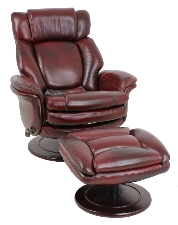 Lumina ll Pedestal Chairs and Ottoman - Burgundy - Barcalounger