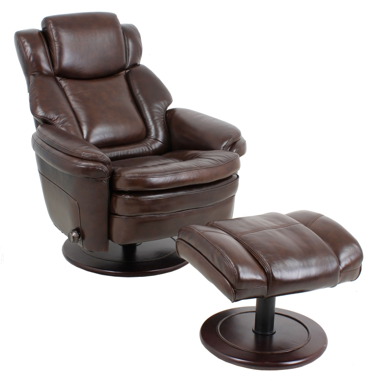 Eclipse ll Pedestal Chairs and Ottoman - Chocolate